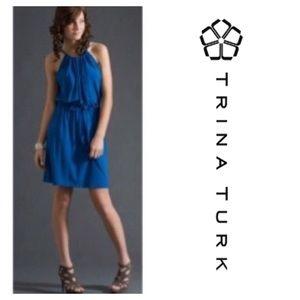 Trina Turk blue high neck tank dress/ 8